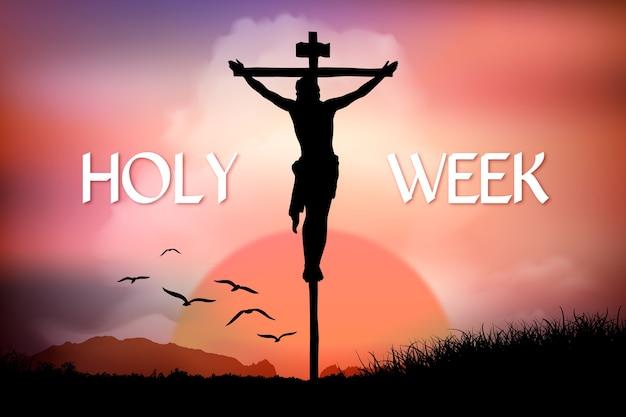 Semana santa realista com crucificação de jesus Vetor grátis