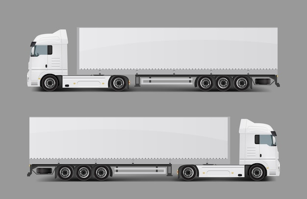 Semi-caminhão de carga com vetor realista de reboque Vetor grátis