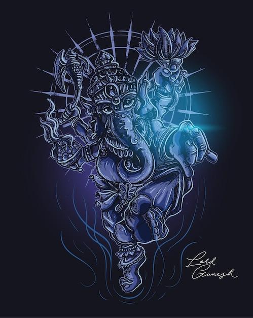 Senhor da ilustração escura de ganesha Vetor Premium