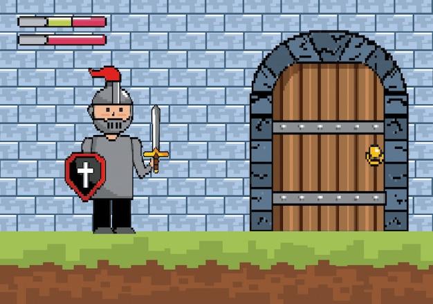 Senhor rapaz com escudo e espada com porta do castelo Vetor grátis