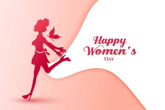 Senhora de alegria para feliz dia das mulheres cartaz Vetor grátis