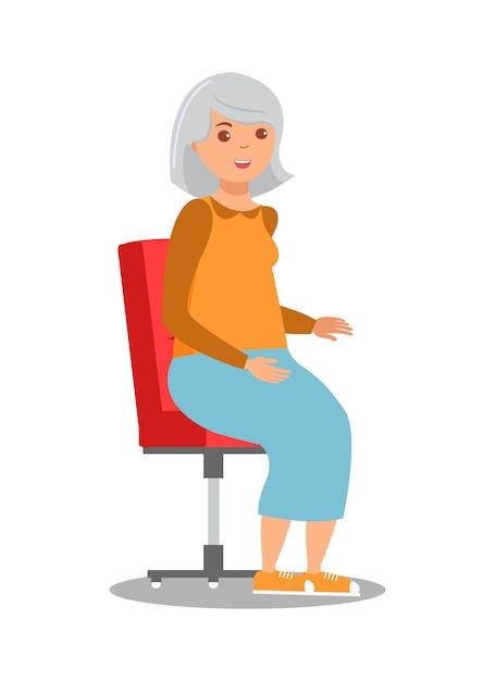 Senhora idosa sentada na cadeira ilustração Vetor Premium