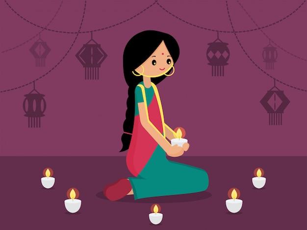 Senhora indiana com luz de suspensão decorada para feliz diwali. ilustração em vetor plana moderna festival de luz do fundo da índia. Vetor Premium