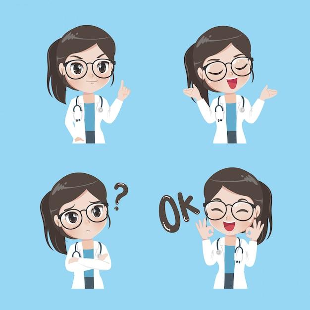 Senhora médico variedade de gestos e ações. Vetor Premium