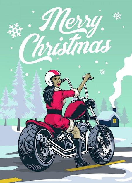 Senhora motociclista em traje de papai noel no meio do inverno de natal Vetor Premium