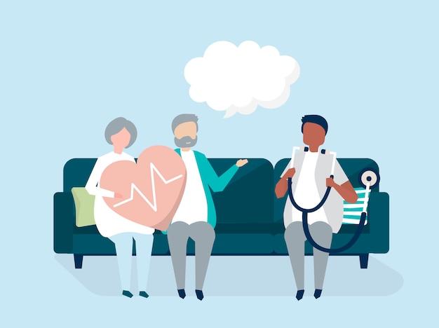 Seniores, recebendo um check-up em um hospital Vetor grátis