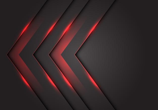 Sentido da seta da luz vermelha 3d, fundo cinzento escuro do espaço vazio. Vetor Premium