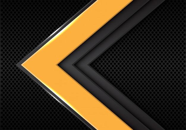 Sentido da seta do cinza amarelo no fundo escuro do espaço vazio. Vetor Premium