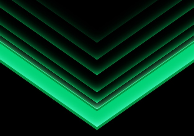Sentido de néon claro da seta verde no fundo preto. Vetor Premium