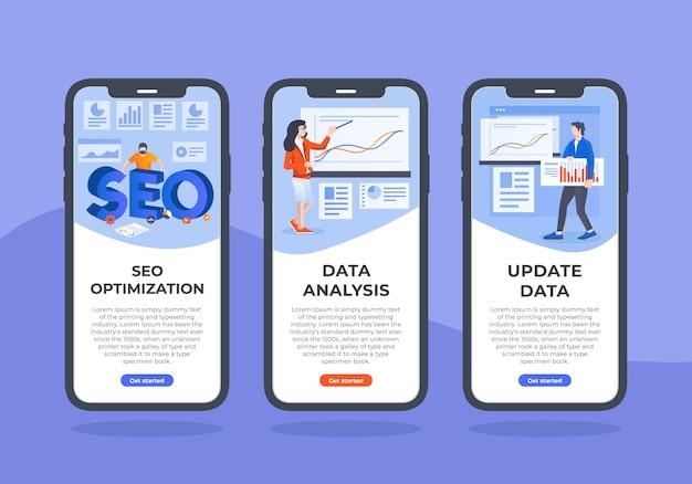 Seo-e-dados-mobile-ui-design Vetor Premium