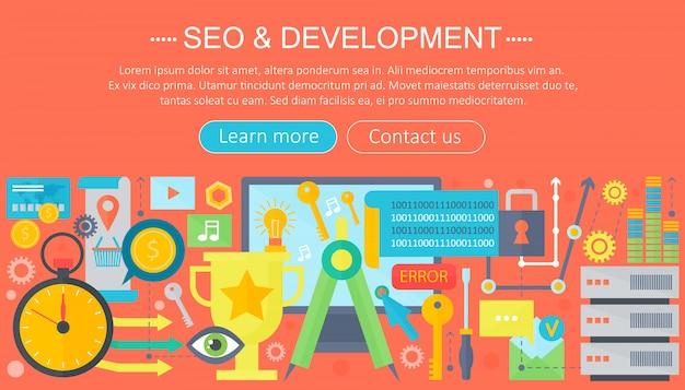 Seo e desenvolvimento conceito design infográficos modelo de design Vetor Premium