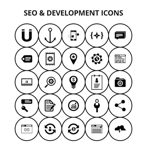 Seo e ícones de desenvolvimento Vetor grátis