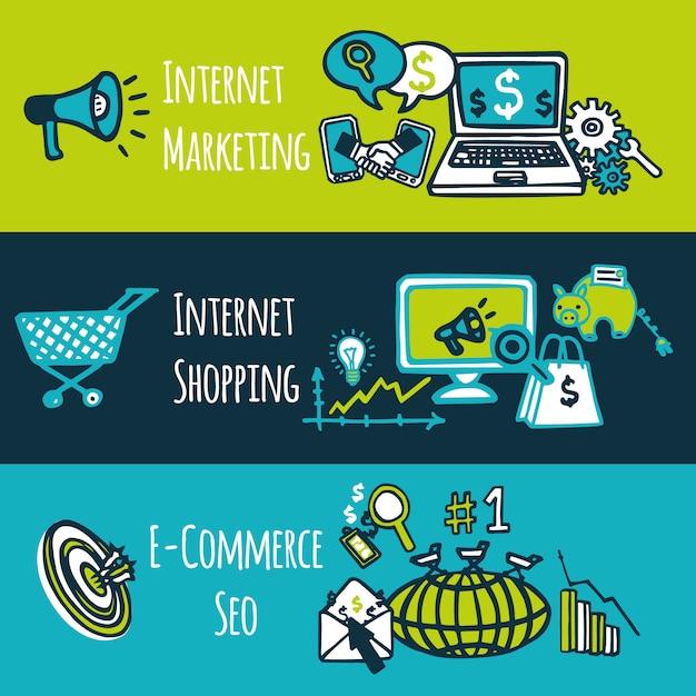 Seo internet marketing compras e-commerce colorido desenho decorativo banners definir ilustração vetorial isolado Vetor grátis