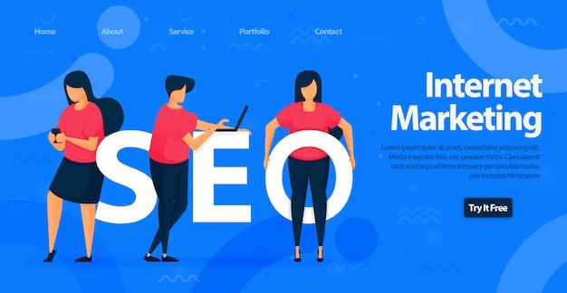 Seo ou marketing na internet modelo de design de página de destino Vetor Premium