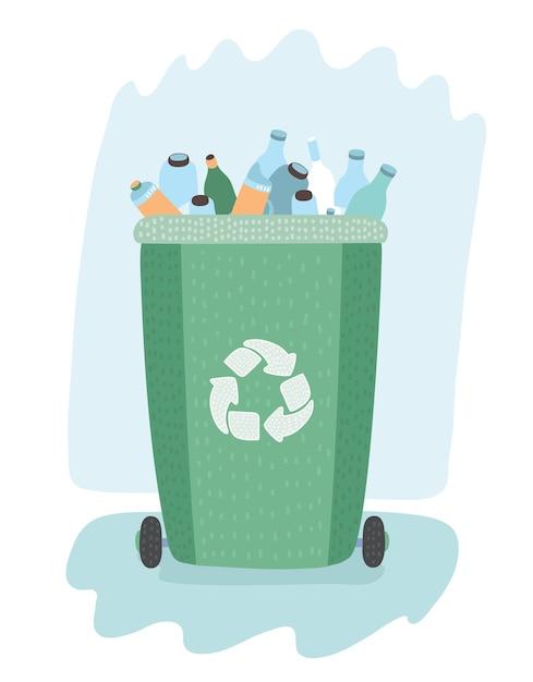 Separação de resíduos em latas de lixo Vetor Premium