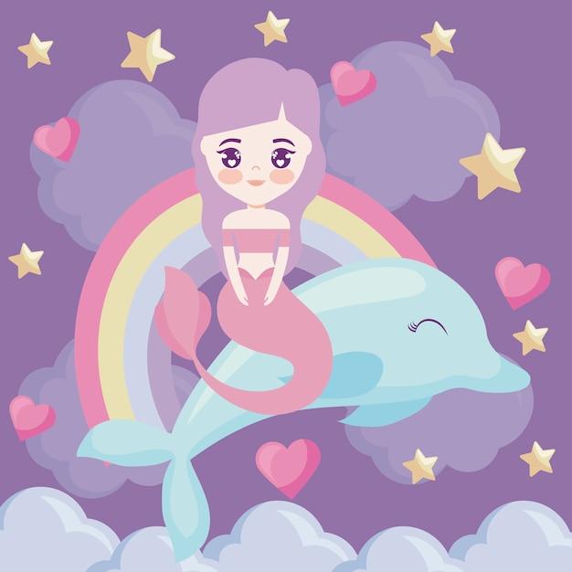 Sereia bonito com golfinho e arco-íris Vetor Premium
