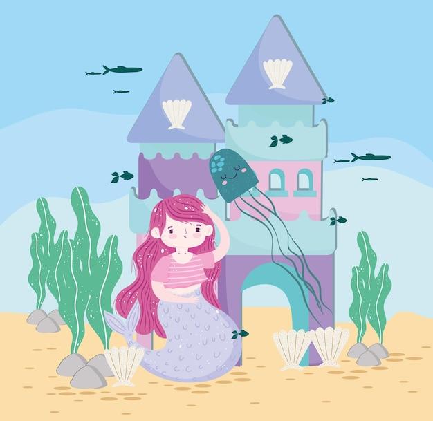 Sereia com castelo, água-viva e ilustração subaquática de peixes Vetor Premium