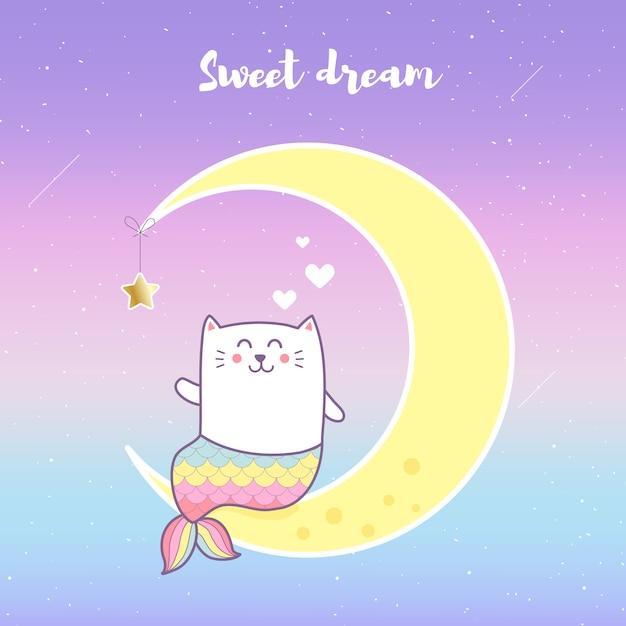 Sereia de gato bonito localização na lua com fundo de cor pastel. Vetor Premium