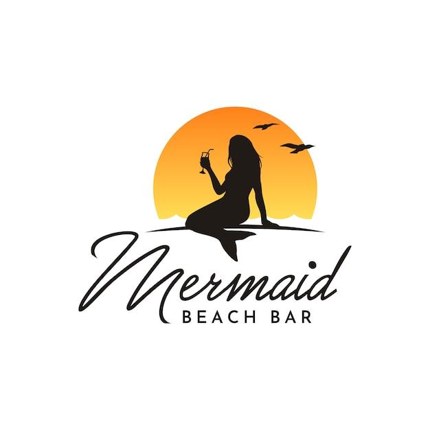 Sereia de silhueta bebendo para design de logotipo de barra de praia Vetor Premium