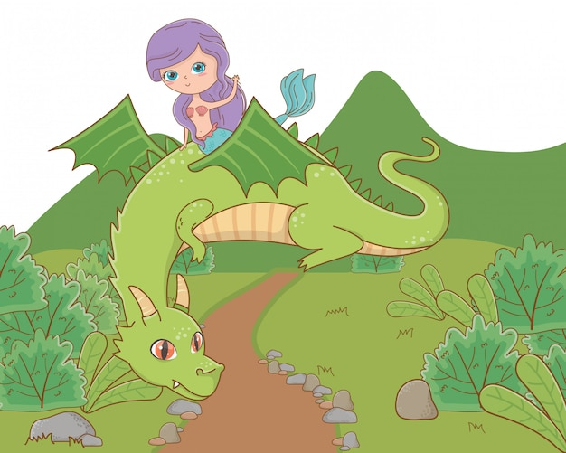 Sereia e dragão de conto de fadas Vetor grátis