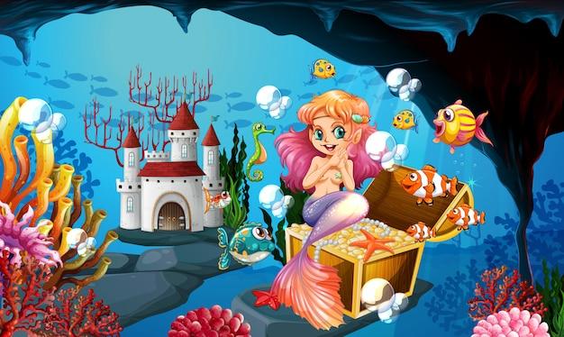 Sereia e moedas de ouro no fundo do mar Vetor Premium