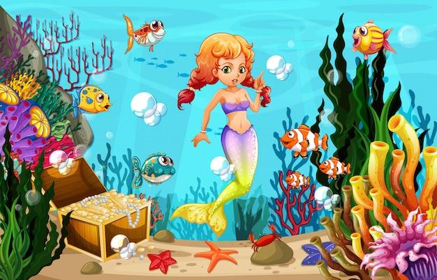 Sereia e muitos peixes no fundo do oceano Vetor Premium