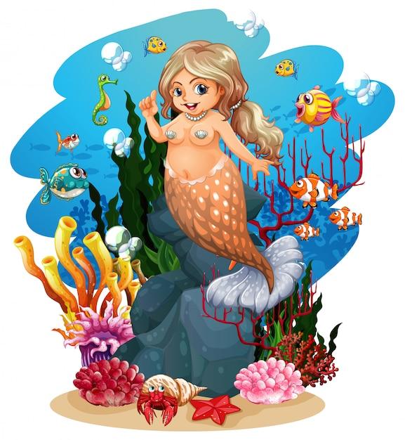 Sereia e peixe no fundo do mar Vetor Premium