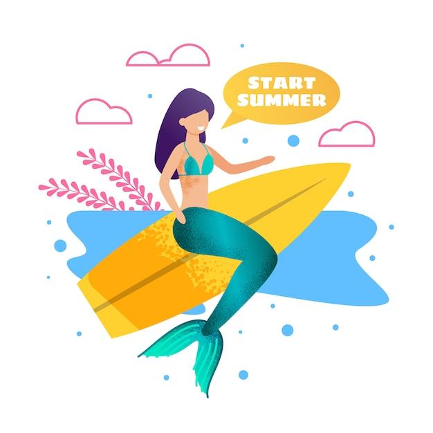 Sereia na bandeira de publicidade de metáfora de prancha de surf Vetor Premium