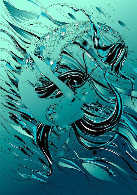 Sereia. o conto é um mito. mundo subaquático. peixes Vetor Premium