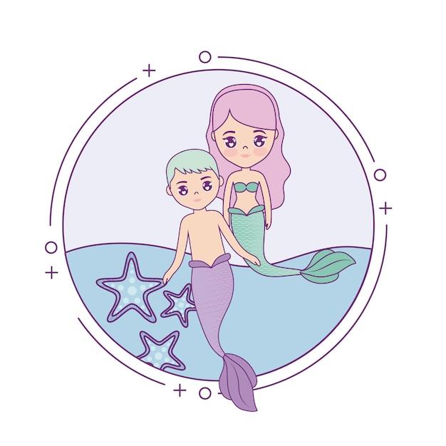 Sereias de casal fofo com mar na circular de quadro Vetor Premium