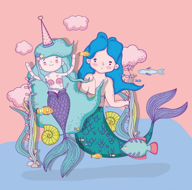 Sereias mulher e homem com nuvens e peixes Vetor Premium