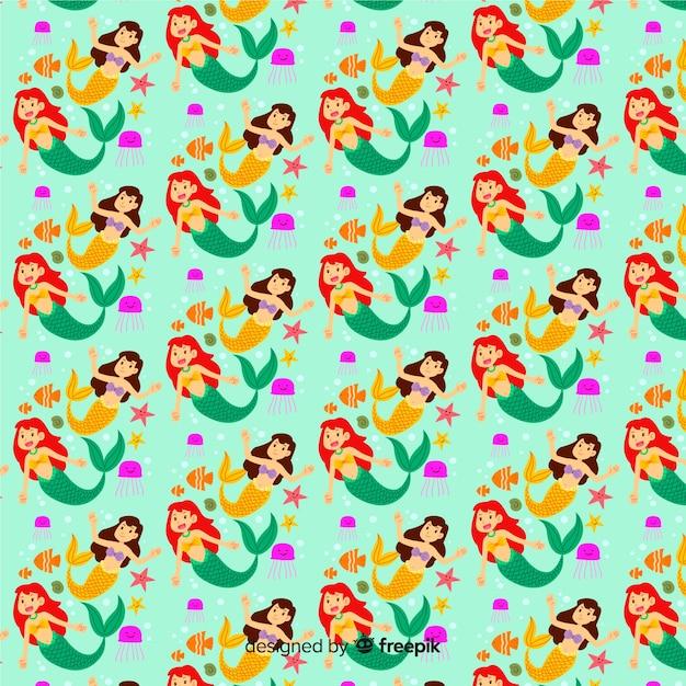 Sereias nadando design plano padrão Vetor grátis