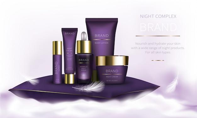 Série cosmética da noite para o cuidado de pele da cara Vetor grátis
