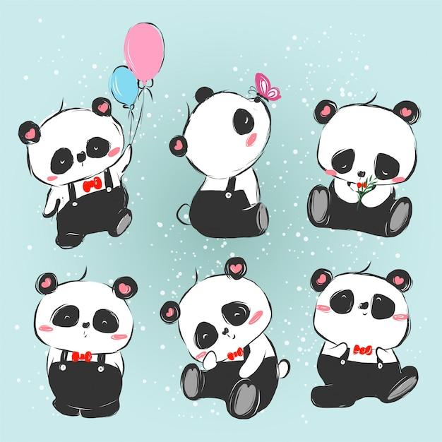 Série panda Vetor Premium