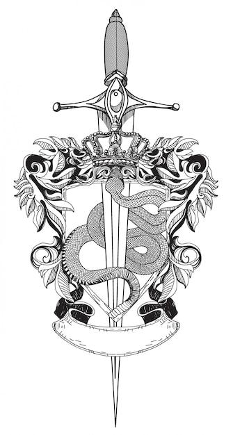 Serpente e espada de tatuagem Vetor Premium