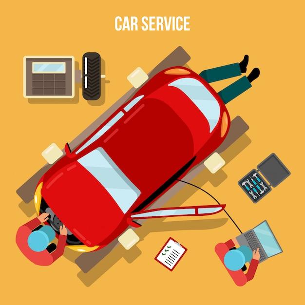 Serviço automotivo. reparos e diagnósticos do carro. auto manutenção. recruta no trabalho. ilustração vetorial Vetor Premium