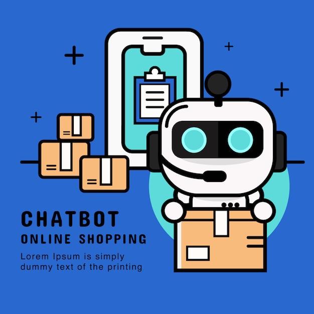 Serviço chatbot. robô do apoio ao cliente com vetor do serviço de entrega. ilustração da bandeira Vetor Premium
