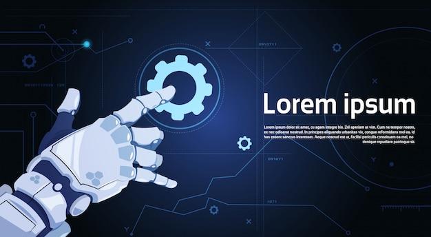 Serviço de apoio técnico robótico da engrenagem do toque da mão e conceito da inteligência artificial Vetor Premium