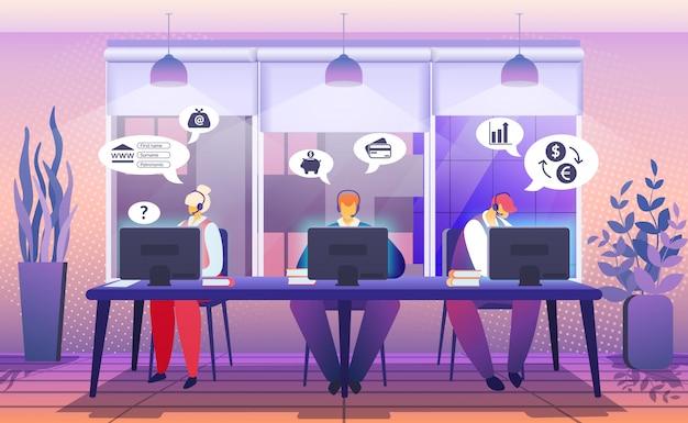 Serviço de atendimento ao cliente. consultor hotline chat Vetor Premium