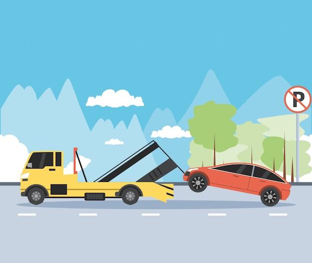 Serviço de caminhão guindaste na cena da zona de estacionamento Vetor Premium