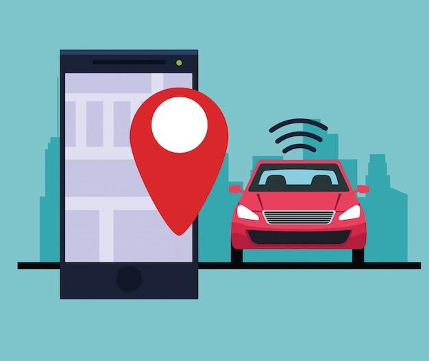 Serviço de carro de localização por gps Vetor grátis