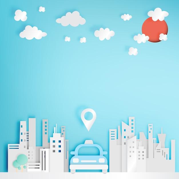 Serviço de carro de táxi no estilo de arte de papel da cidade Vetor Premium