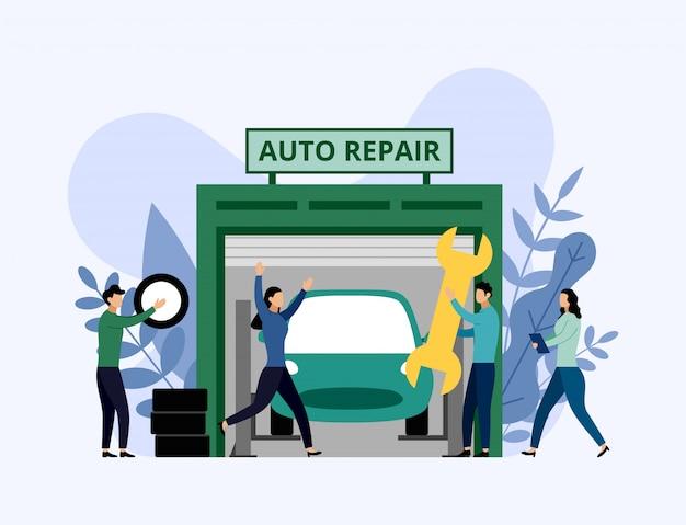 Serviço de carro e reparação, trabalhadores consertando o carro, ilustração em vetor conceito empresarial Vetor Premium