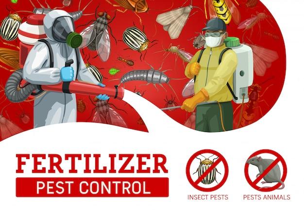 Serviço de controle de pragas, trabalhadores pulverizando inseticida Vetor Premium