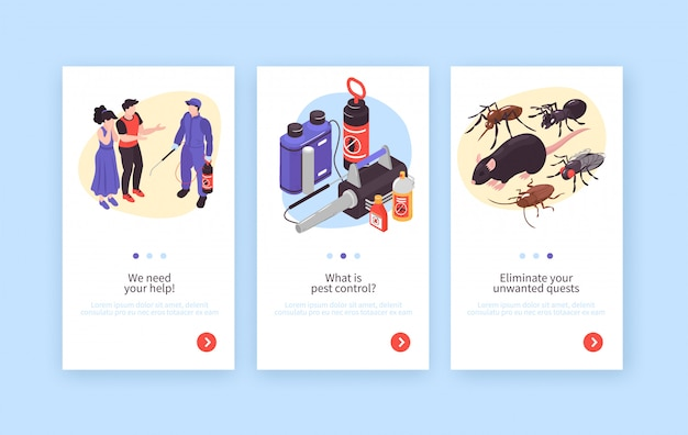 Serviço de desinfecção de higiene de controle de pragas banners verticais isométricos conjunto com ratos insetos especialistas clientes equipamentos Vetor grátis