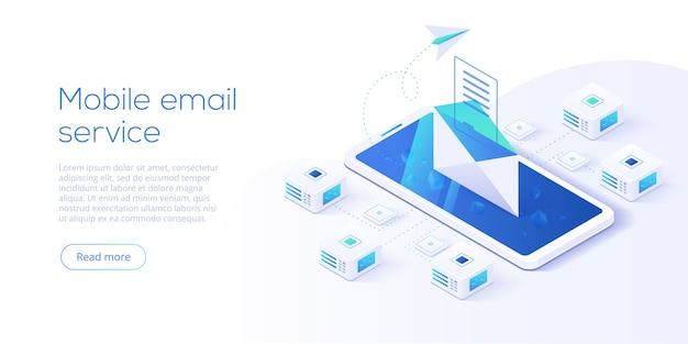 Serviço de email isométrico. conceito de mensagem de correio eletrônico como parte do marketing empresarial. layout de webmail ou serviço móvel para cabeçalho de destino do site. fundo de envio de boletim informativo. Vetor Premium