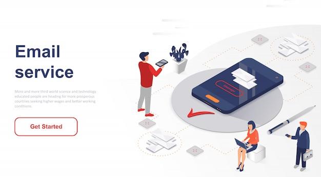 Serviço de email isométrico da página de destino ou aplicativo móvel Vetor Premium