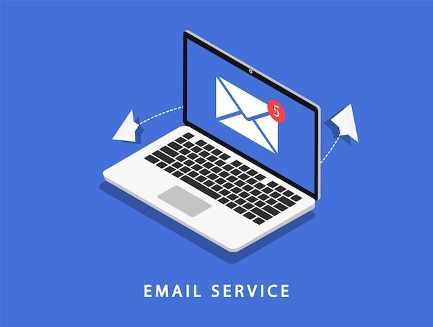 Serviço de email. laptop com correio. marketing de email. Vetor Premium