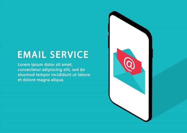Serviço de email no telefone. e-mail marketing, serviços de correio. isométrico. páginas da web modernas para sites da web. Vetor Premium