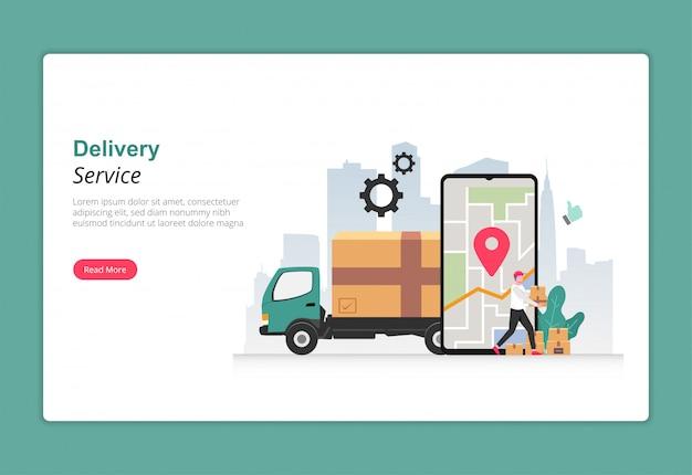 Serviço de entrega com o conceito de design de caminhões. personagem de correio carregando pacote de caixa para entregar ao cliente. Vetor Premium